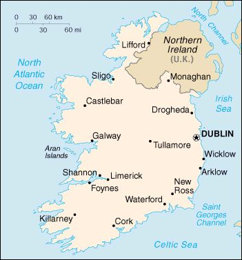Map Of Ireland Please.Handy Map Of Ireland And Incuding The Capital City Dublin